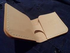 Veg tan leather bill-fold wallet. Handmade by SleepingDogsLeather