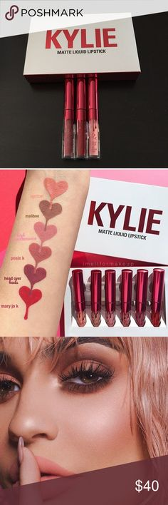 KYLIE MINI MATTES BRAND NEW/NEVER USED! Comes with Apricot, Posie K, and Mary Jo K ONLY from the KYLIE VALENTINE'S DAY COLLECTION MINI MATTES. Product comes with .02fl oz each. Bought this from the Kylie Pop Up Shop in Soho NYC. 100% AUTHENTIC!! Let me know if you have any questions. Comes with Box shown. Kylie Cosmetics Makeup Lipstick