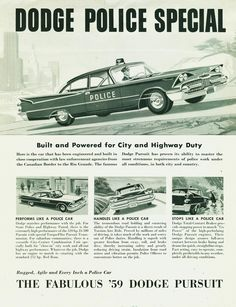 """The 383 cu., 320 hp was the """"choice of California Highway Patrol after competitive tests"""", according to this Dodge brochure. Other engine choices: the 345 hp, 383 Super or the Red Ram 326 with 255 hp. Norman Rockwell, Vintage Advertisements, Vintage Ads, Retro Ads, Old Police Cars, Car Brochure, Dodge Coronet, Emergency Vehicles, Police Vehicles"""
