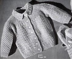 Available as free download on Ravelry: Baby Sweater #5311 pattern by The Spool Cotton Company