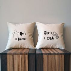 "Any Harry Fan would love these ""He's a Keeper"" and ""She's a Catch"" pillows—the perfect holiday gift for couples."
