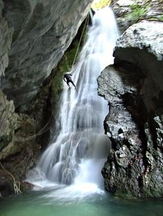 Exhilarating canyoning in one of the Beladovac delirious waterfalls, Slovenia 2007