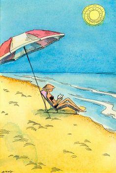 My kind of day at the beach! Original Painting Beach Reading by PainterNik on Etsy Reading Art, Beach Reading, Woman Reading, Illustrations, Illustration Art, My Little Paris, Umbrella Art, I Love The Beach, Beach Scenes