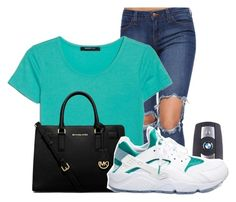 """""""Teal turn up"""" by love04444 ❤ liked on Polyvore featuring MANGO, BMW, MICHAEL Michael Kors and NIKE"""