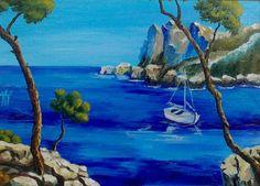 Залив, море, небо, скалы, пейзаж