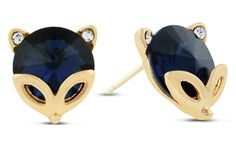 Made with sapphire blue Swarovski Elements crystals, these whimsical earrings are shaped like foxes