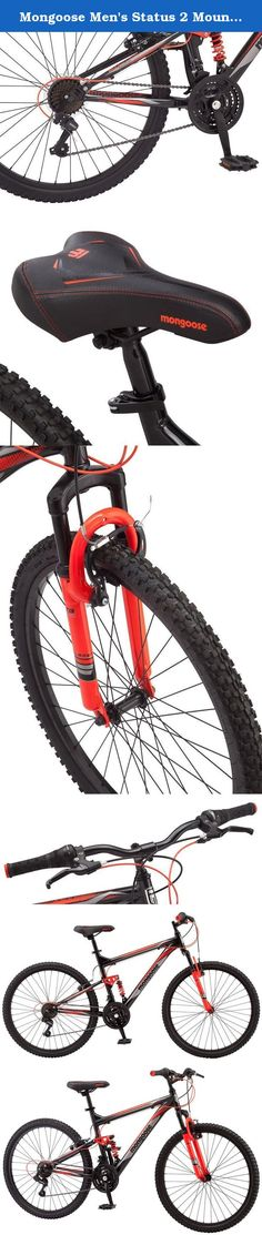 """Mongoose Men's Status 2 Mountain Bicycle, 18""""/Medium, Black. Many things in life seem to hold us back. There are always errands to run, dishes to do, bills to pay, and it all gets in the way of what you really want to do: ride. Hop on the 26"""" men's Mongoose Status 2.2 mountain bike for a ride that won't hold you back. Featuring a strong aluminum frame with hydro formed tubing and a powerful suspension fork to smooth out bumps, the Status 2.2 is ready for your next adventure. A 21-speed..."""