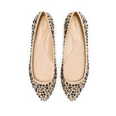 Flat Court Shoe w. Rhinestones (sand) - Zara