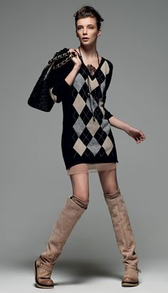 """TWIN-SET Simona Barbieri: """"A Modern Retro' Style"""": v-necked dress with rhombus inserts and lace details,biker boot high suede leg with eco-sheepskin and shopping bag quilted with hearts, double handle."""
