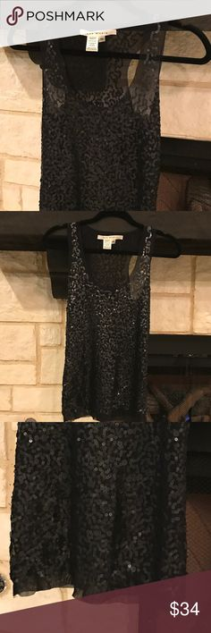 MAX STUDIO, black sequin racerback tank, Size XS Beautiful and in excellent condition! Only wore once. Made of a thin nylon fabric with black sequins (different sizes). Racerback style make it a very sexy look for an evening out. SIZE: XS Max Studio Tops Tank Tops