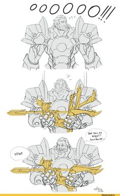 Overwatch Reinhardt and Mercy Overwatch Comic, Overwatch Memes, Overwatch Fan Art, Overwatch Pictures, Soldier 76, Fanart, Paladin, Funny Comics, Nerdy
