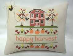 Harvest Cross Stitched Mini Pillow Fall Shelf Sitter by luvinstitchin4u on Etsy