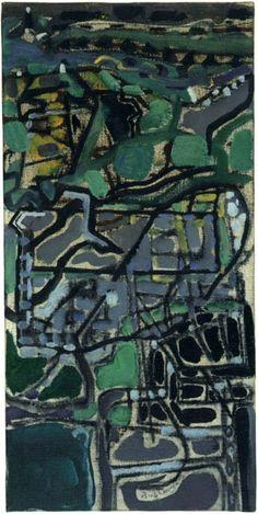 Patrick Heron, Behind Tregenna : 1950 Abstract Landscape, Abstract Art, Patrick Heron, Photo Maps, Composition Design, Bottle Art, Artist Art, Love Art, Les Oeuvres
