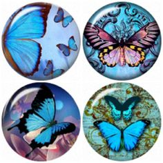 Butterfly snap button charms 20mm 4 Pack by BeaditBracelets