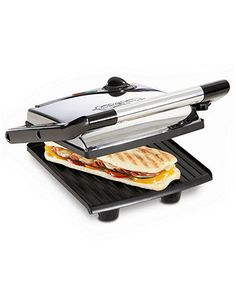 Can't live without our Panini press. Why spend all that money at a restaurant when you can make it at home. If you get a panini maker Try this recipe- 2 slices Italian bread, Turkey sandwich meat,(I like spicy jerk turkey) Sliced onion, Sliced tomatoes, lettuce, gaucamole,(you can buy pre made) your favorite cheese,(I like spicy gouda cheese). Spread gaucamole on bread, then layer everything else on. Pop it in the press and let it get nice and crispy. About 3-5 minutes. So yummy!