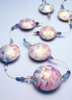 How-to tutorial- Making a neat patchwork type polymer clay bead skin! Pastel-Lentil-Beads-2