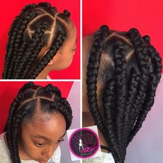 Jumbo box braids. Age appropriate.