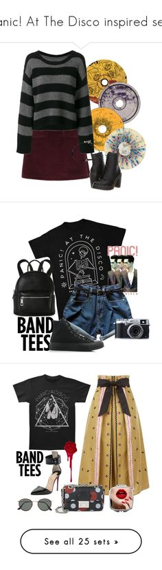 """""""Panic! At The Disco inspired sets"""" by alara-cary ❤ liked on Polyvore featuring Ødd., Hot Topic, A.P.C., Dr. Martens, RtA, Fujifilm, Street Level, Converse, Temperley London and Christian Louboutin"""