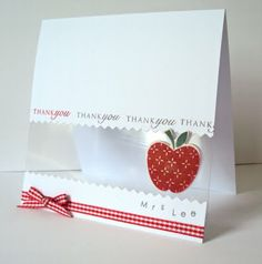 clean and simple handmade card ... luv the acetate panel with an apple .... sweet thank-you card for a teacher ...