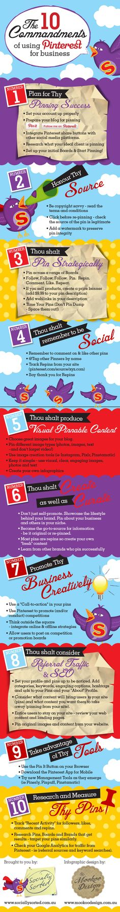 The 10 Commandments of Using Pintrest for Business - pintrest marketing - social media business infographic Inbound Marketing, Marketing Trends, Marketing En Internet, Business Marketing, Affiliate Marketing, Content Marketing, Online Business, Social Business, Social Trends