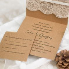 Faire part de mariage rustique avec pochette dentelle JM702 à partir de 1.70€