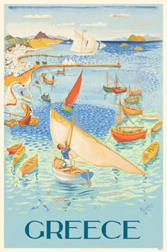 Add retro wall decor with a Greek Travel Poster for home or business. All Greece Travel Posters are tabbed on the back and ready to hang. Old Posters, Retro Poster, Poster Ads, Vintage Travel Posters, Travel Ads, Travel Images, Travel Photos, Vintage Advertisements, Vintage Ads