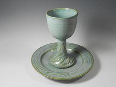 Ceramic chalice and paten pottery communion by TamarackStoneware