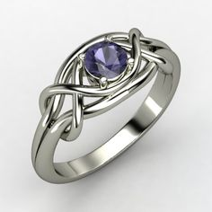 Infinity Knot Ring  Round Iolite Sterling Silver Ring