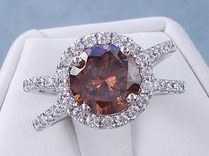 2.85 CTW ROUND CUT DIAMOND ENGAGEMENT RING NATURAL CINNAMON CHOCOLATE SI1