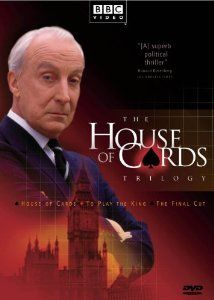 "The Original House of Cards - with Ian Richardson - BBC. Ian Richardson wonderful as the treacherous and murdering Tory Chief Whip Francis Urquhart.  Looks a little dated now but was a fine piece of surreal drama at the time followed by two additional series.  The original books were written by a Tory MP, Michael Dobbs, who was part of Mrs Thatcher's administration.  Memorable FU quote:    ""You may well think that, but I couldn't possibly comment""."