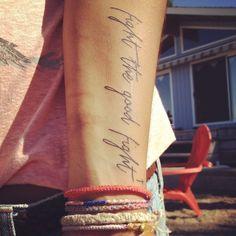 fight the good fight. tattoo. wrist tattoo. simple tattoo