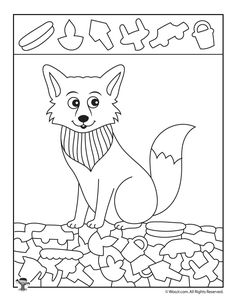Arctic Fox Hidden Picture Coloring Page Fox Coloring Page, Colouring Pages, Arctic Animals, Arctic Fox, Library Activities, Kindergarten Activities, Hidden Pictures Printables, Sudoku, Printable Activities For Kids