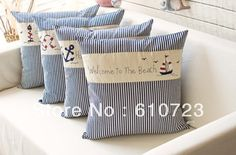 whole-sales,Mediterranean style Marine caique anchor cushion pillow lighthouse household cloth art adornment stripe embroidery US $8.39