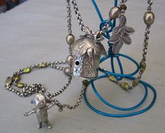 """Jungle"" PMC pendant with standing monkey"