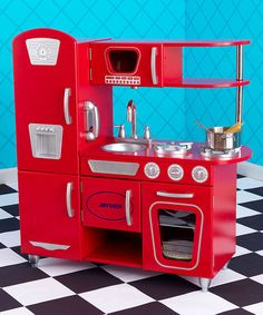 This Red Vintage Personalized Kitchen by KidKraft is perfect! #zulilyfinds