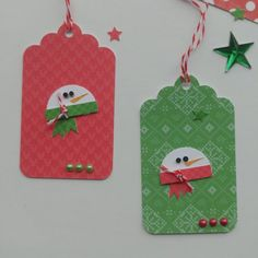Christmas gift tags, to and from tags, red and green snowman tags. Christmas Craft Fair, Christmas Gift Bags, Holiday Gifts, Christmas Holidays, Christmas Ideas, Card Tags, Gift Tags, Handmade Tags, Craft Fairs