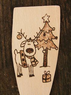 Merry Christmas Reindeer Personalised Wooden spoon hand engraved burning wood (Surprise your friend)