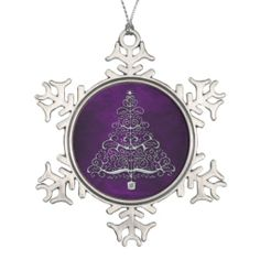 Chrome Christmas Tree Purple Snowflake Ornament by Sand Creek Ventures