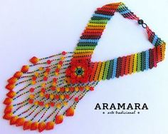 Mexican Huichol Beaded Orange Flower Necklace CFG-0070 by Aramara