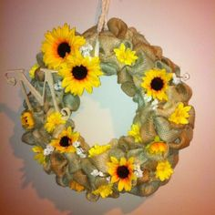 Burlap wreath I made for mom for Mother's Day