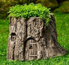 Tree Stump Fairy Door Planter