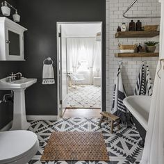 Spatial Contrass Square Cement Tile – Home living color wall treatment kitchen design Bad Inspiration, Bathroom Inspiration, Modern House Design, Modern Interior Design, Contemporary Interior, Bathroom Flooring, Shiplap Bathroom, Bathroom Cabinets, Bathroom Bin