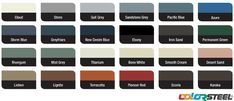 Wide Span Sheds are available in COLORSTEEL® in over 20 colours. Choose from the colour chart shown here and use our Colour Selector Tools to mix and match. Colour Chart, Rustic Theme, Exterior House Colors, Mists, Colours, Homemade, Future, Stone, Future Tense