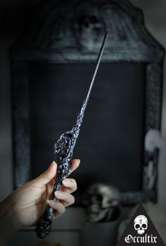 Moloch Unique Handmade Wand Black Silver Magic by Occultix on Etsy