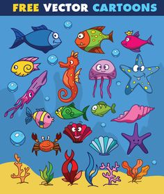 Sea Life Vector Cartoons | Free Download | Pixaroma | We extract aroma from pixels.