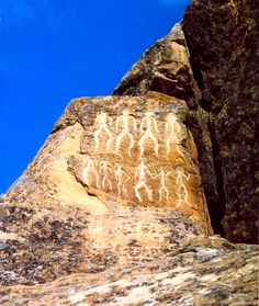 "Petroglyphs in Gobustan, Azerbaijan, in the Caucasus, dating back to 10,000 BC indicating a thriving culture. It is a UNESCO World Heritage Site considered to be of ""outstanding universal value"""