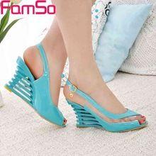 Free shipping 2016 New Sexy Lady Slingbacks Pumps Peep toe Wedges Sandals  Summer Women s high Heels 080fa362deb7