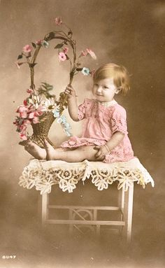 Beautiful Vintage Images  Vintage Postcard ~ Baby with Flowers
