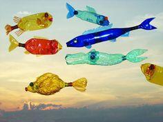 pet flaschen bunte fische kunst