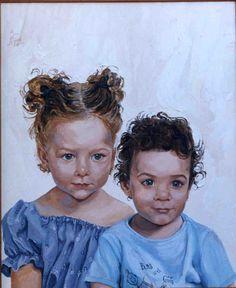MARÍA JOSÉ Y JUAN MANUEL. Óleo sobre lienzo. 65x54 cm. 2005